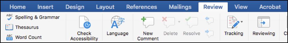 "The Check Accessibility button is located on the ""Review"" tab on the Ribbon in Word for Mac."