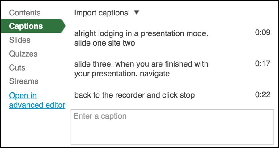 Select Captions to edit captions on a Panopto video.