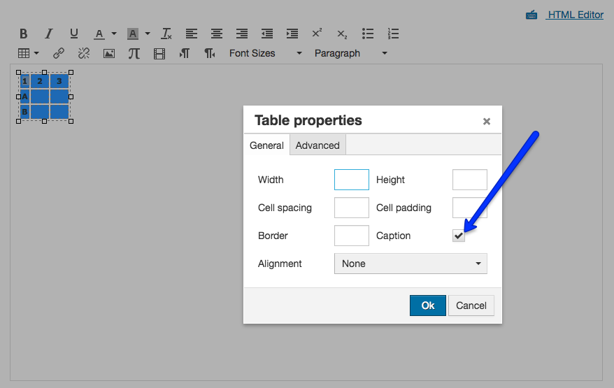 Select Caption option in Table Properties
