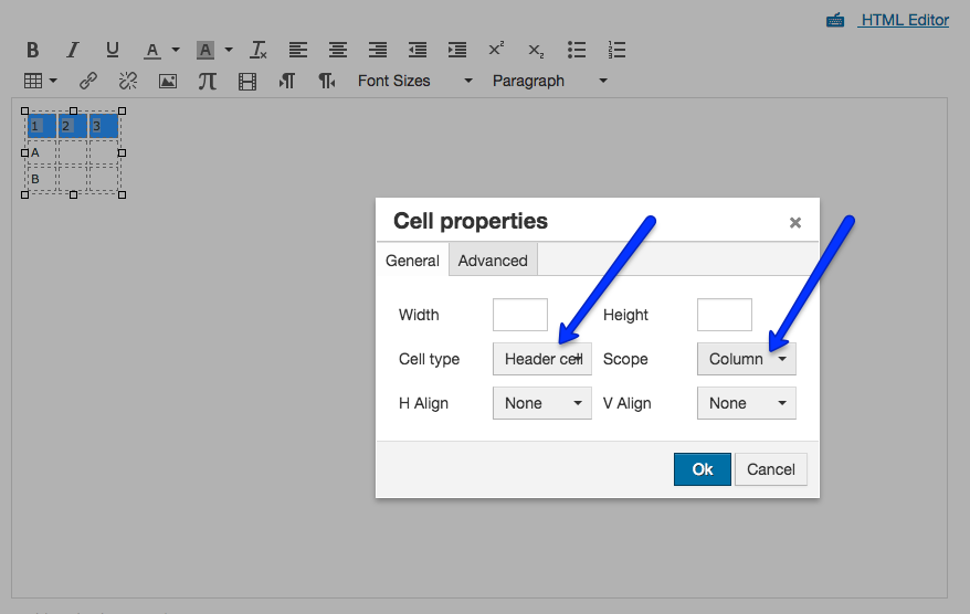 Select Header Cells for Columns