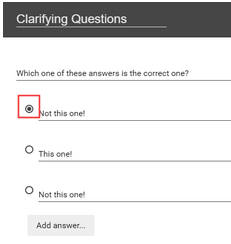 A red box emphasizes that the circle next to the first answer option is toggled to indicate it is the correct response to the question.