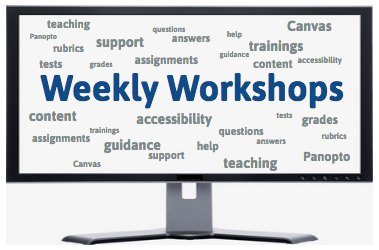 Computer screen with the phrase Weekly Workshops in large font centered on the screen. Surrounding this are the following words in smaller font: Canvas, trainings, teaching, questions, answers, help, guidance, tests, grades, assignments, support, content, accessibility, rubrics, and Panopto.